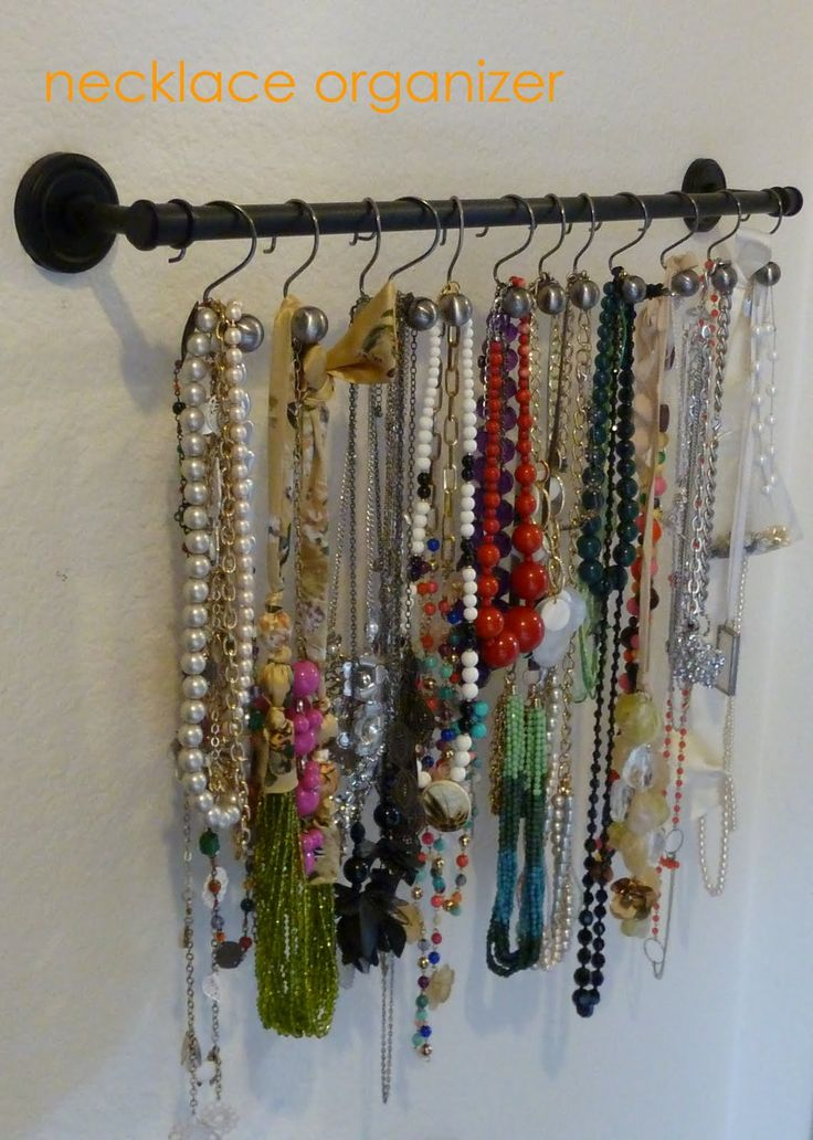 Necklace Organizer From A Simple Towel Rod And Shower