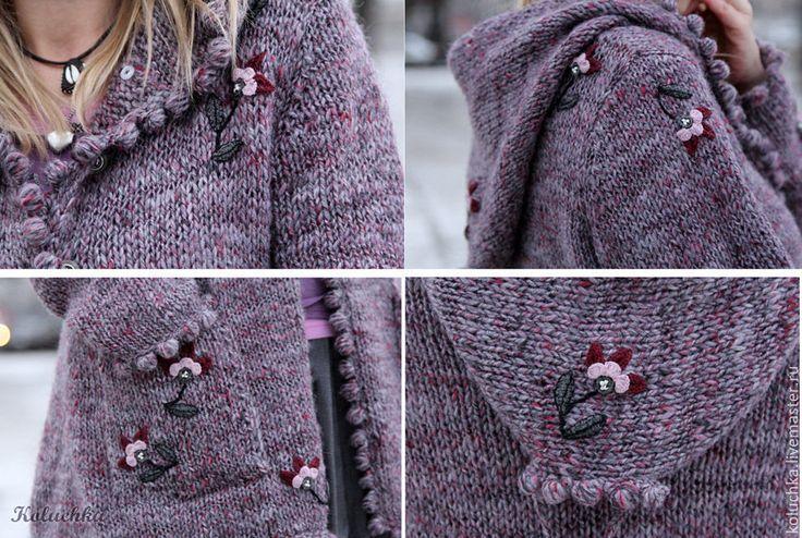 Купить Мне нравится, что можно быть смешной... - цветочный, вязаная кофта, теплая одежда, зима 2015