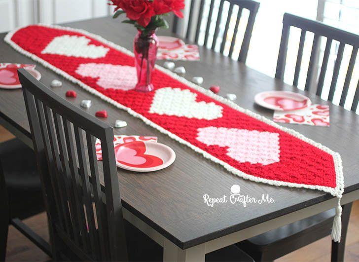 Crochet C2C Valentine's Heart Table Runner