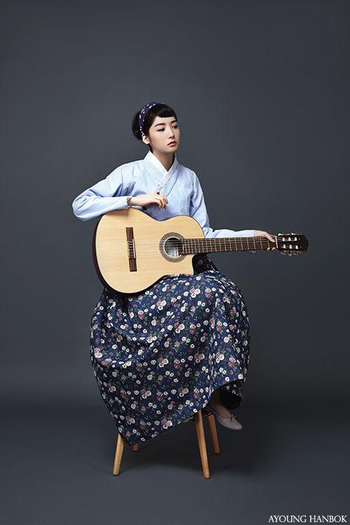 한복 Hanbok : Korean traditional clothes[dress] #modernhanbok Audrey Hepburn, enjoying the guitar, AYOUNGHANBOK, Korean costume, 아영한복, 생활한복