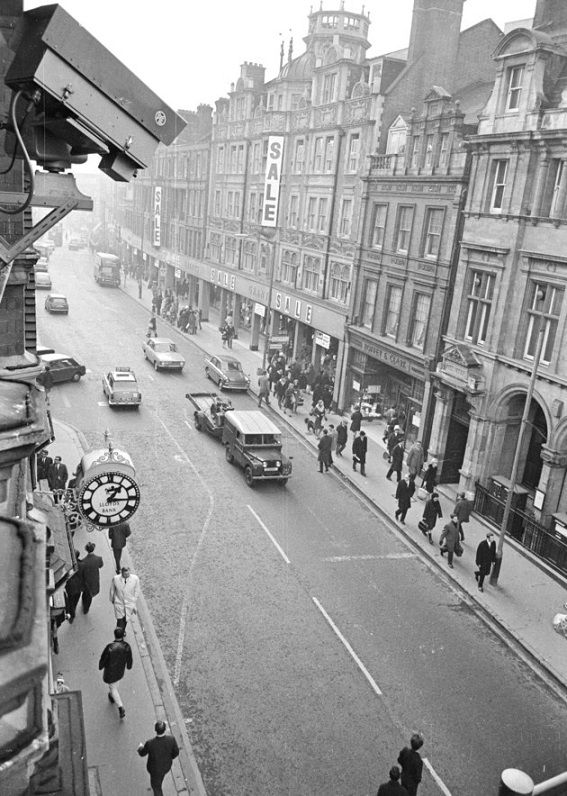 A police CCTV (Closed Circuit Television) camera overlooking a street in Croydon_c1968