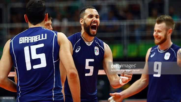 Osmany Juantorena #5 of Italy celebrates against Iran during the Men's Quarterfinal Volleyball match on Day 12 of the Rio 2016 Olympic Games at Maracanazinho on August 17, 2016 in Rio de Janeiro, Brazil.