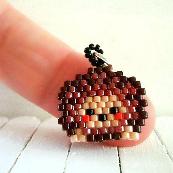 Hedgehog Seed Bead Charm - Brick Stitch Bead Weaving - Beaded Animal Accessory - Kawaii Jewelry