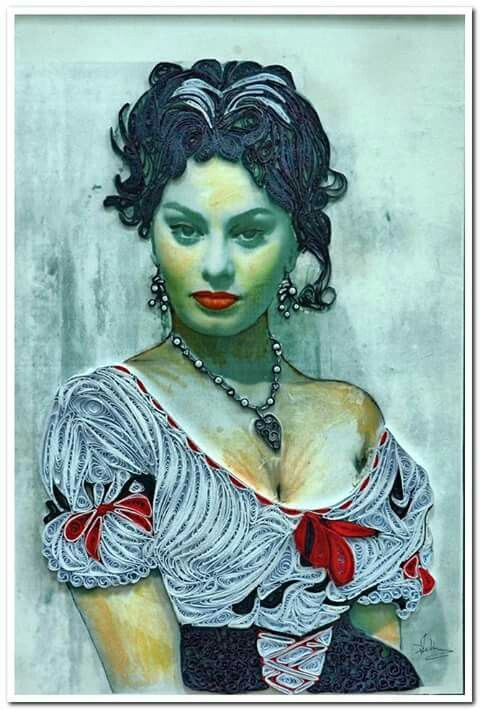 Omaggio a Sofia Loren tecnica quilling