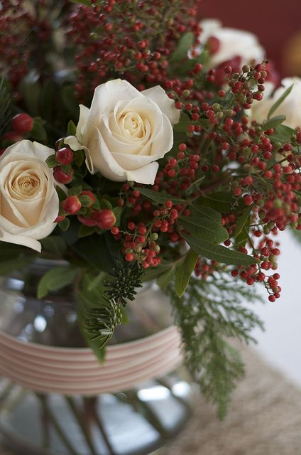 I just love pristine white roses with red berries and winter greenery maybe with a red satin bow for a lovely Christmas display!!