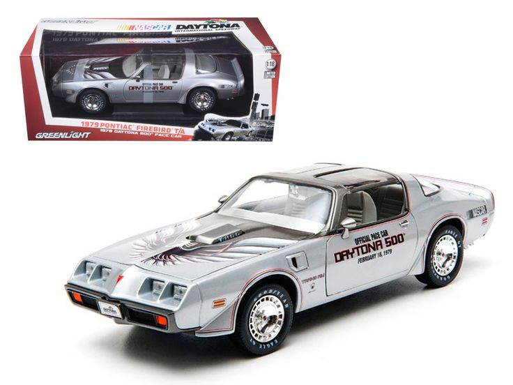 1979 Pontiac Firebird Trans Am 1979 February 18 Daytona 500 Pace Car 1/18 Diecast Car Model by Greenlight - Brand new 1:18 scale diecast car model of 1979 Pontiac Firebird Trans Am 1979 February 18 Daytona 500 Pace Car die cast car by Greenlight. Limited Edition 1 of 1500 Produced Worldwide. Brand new box. Rubber tires. Has steerable wheels. Has opening hood and doors. Made of diecast with some plastic parts. Detailed interior, exterior, engine compartment. Dimensions approximately L-10.5…