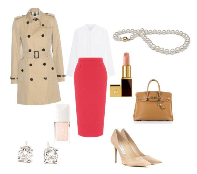 """Sarah's outfit for work"" by maggiesitek on Polyvore featuring Jimmy Choo, Tiffany & Co., Burberry, Roland Mouret, Hermès, Tom Ford and Christian Dior"