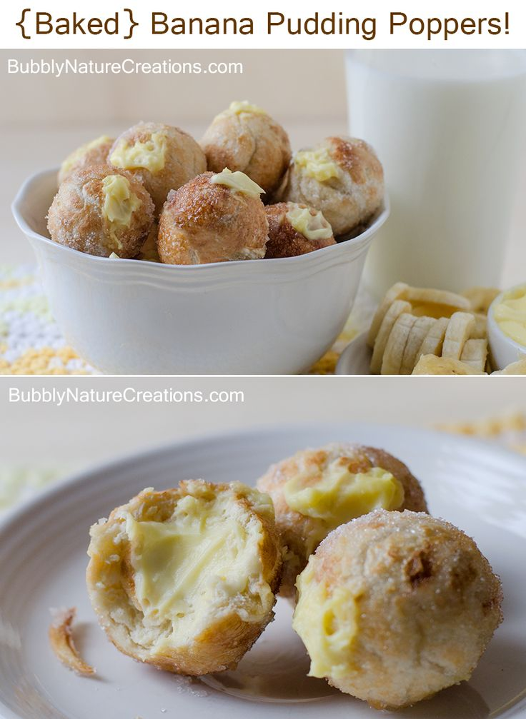 {Baked} Banana Pudding Poppers! Baked yeast dough that is filled with banana cream pudding.  Banana pudding dessert all in one bite! Yum!