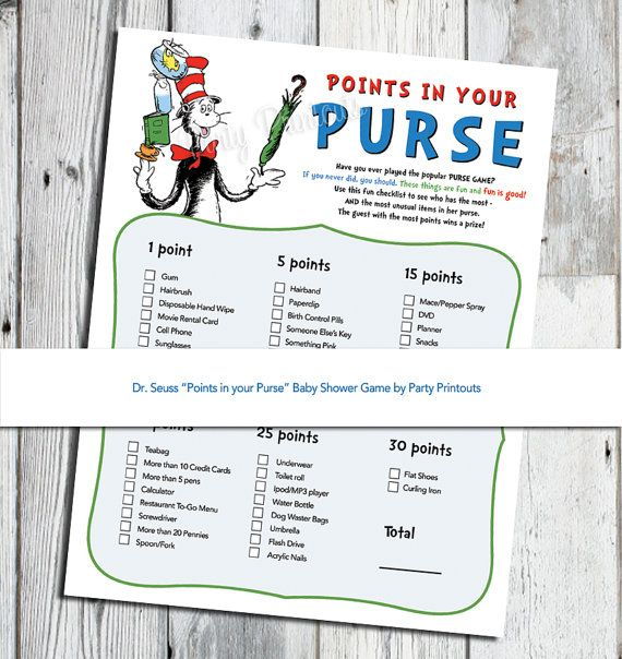 Fun Cat in the Hat Baby Shower game, Points in your Purse, PRINTABLE, More unique Dr. Seuss Baby Shower games available on Etsy, $6.99