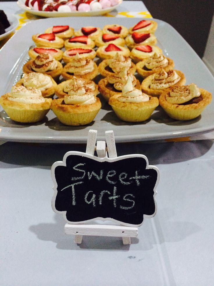 Lemon and passion fruit tarts, choc caramel tarts