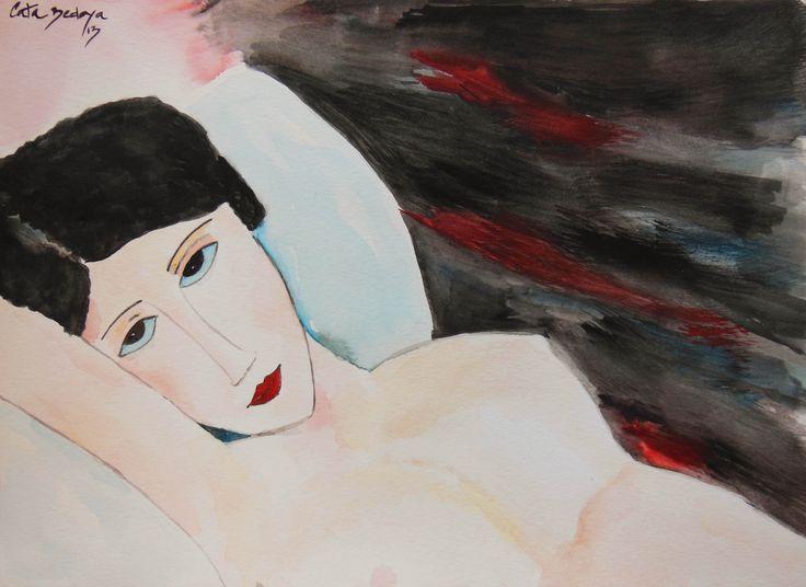 Watercolor paint  Marbelle  29.7 x 42 cm Solgt!