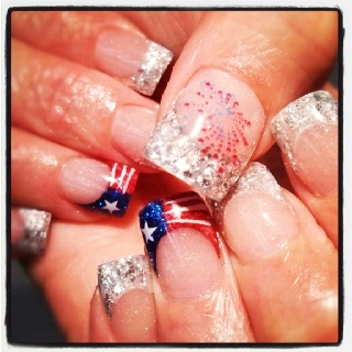 4th of july 3d nails