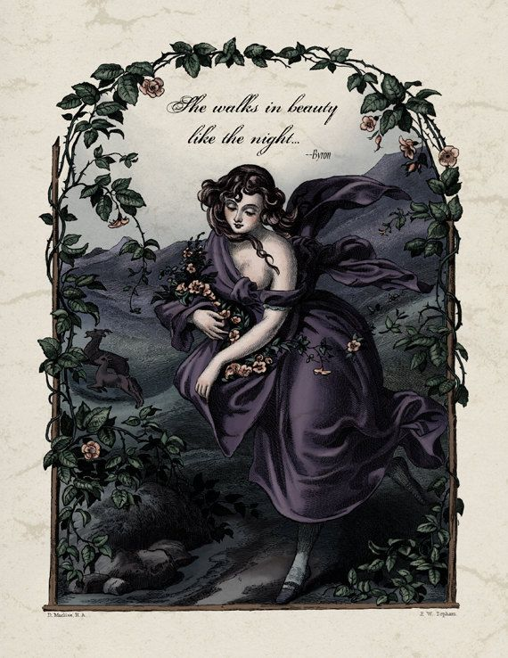 Lord Byron - Regency Poetry She Walks in Beauty Poem Print - Romantic Victorian Art Reproduction Vintage Illustration 19th Century Art Print