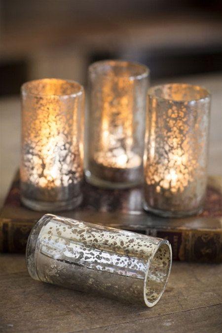 ❥ Antiqued Mercury Glass Tea Light Candle Holders