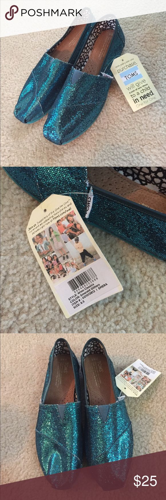 Turquoise glitter TOMS Turquoise glitter TOMS, size 8.5. Brand new, never worn, tags still on! Toms Shoes