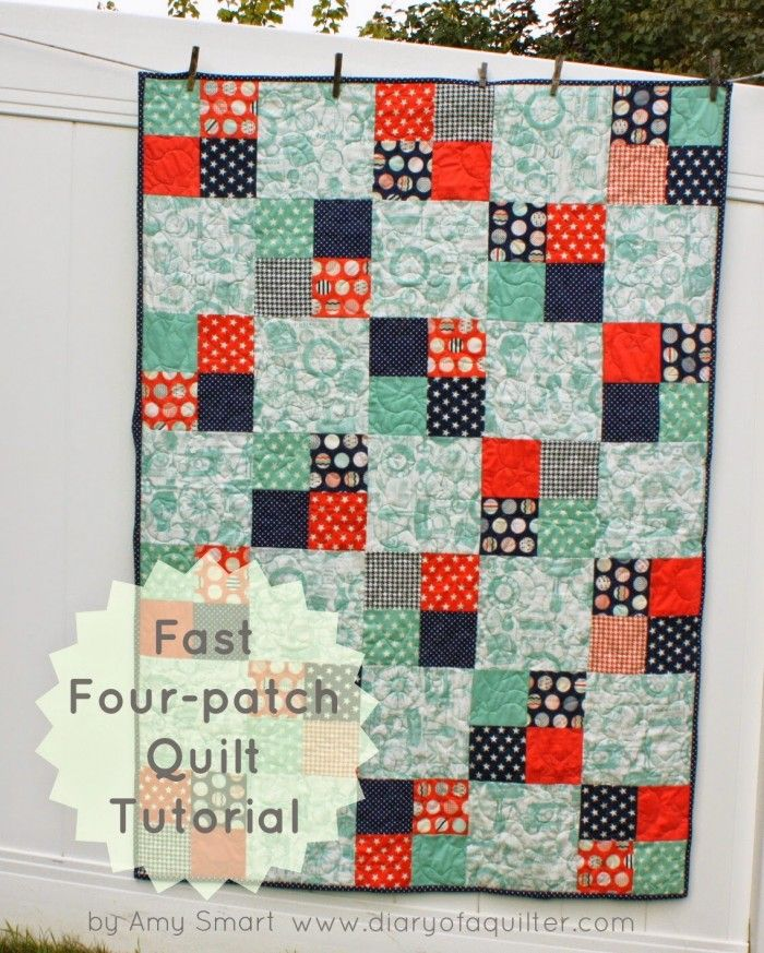 Fast 4 patch quilt tutorial More