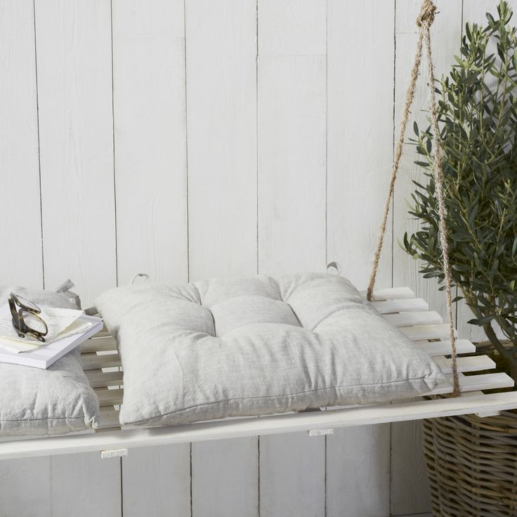 Grey Linen Tufted Seat Pad | Outdoor Living | Home | The White Company UK