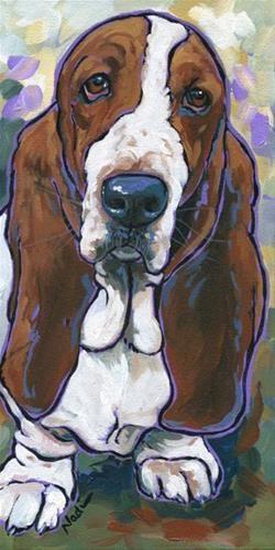 "Daily Paintworks - ""14/41 Basset Hound"" - Original Fine Art for Sale - © Nadi Spencer"
