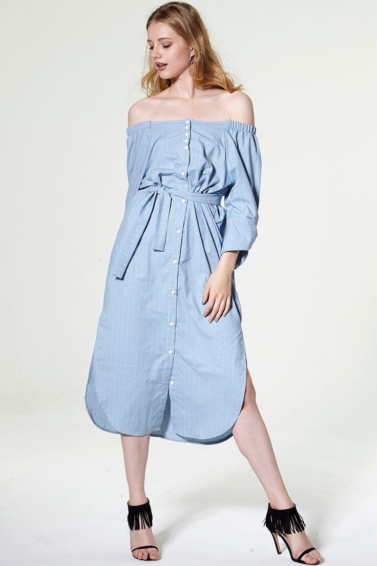 Kristina Off-the-shoulder Shirt Dress Discover the latest fashion trends online at storets.com $87
