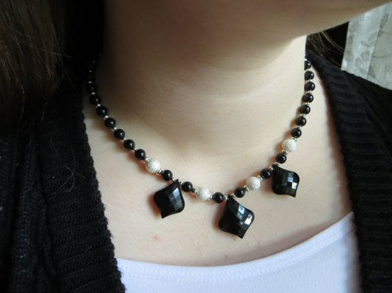 Black onyx teardrop necklace Faceted black onyx by Inspiredby10