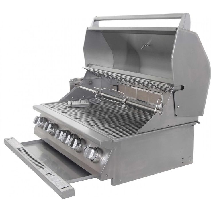 Lion 40-Inch L90000 Stainless Steel Built-In Propane Gas BBQ Grill Lion 40-Inch L90000 Stainless Steel Built-In Propane Gas Grill - Drip Tray Open