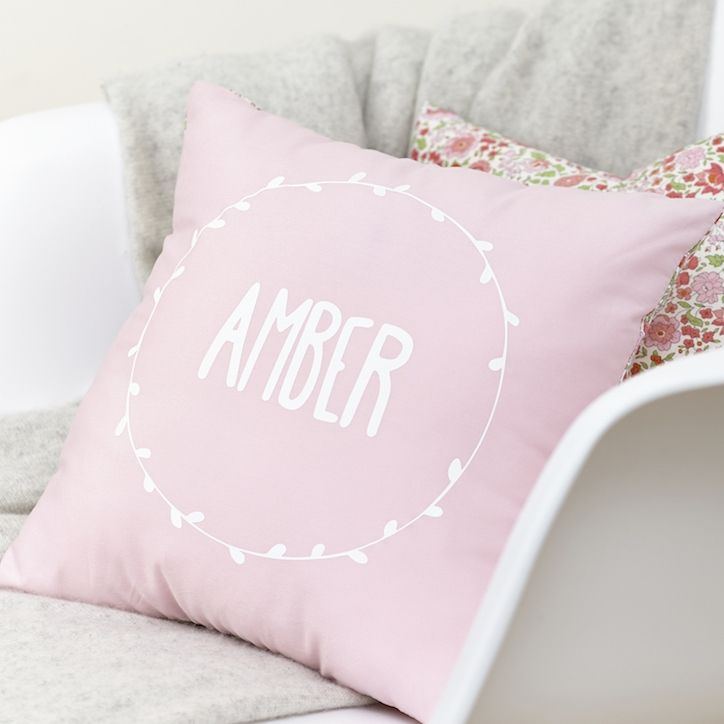 Pale pink personalised Liberty cushion | hardtofind.