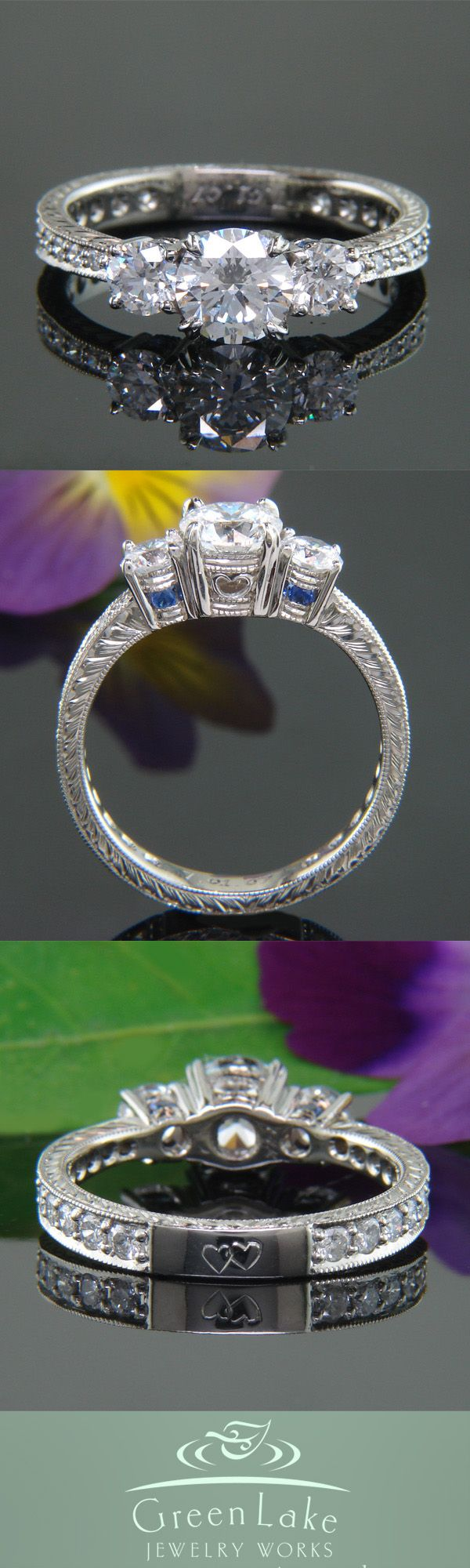Three-stone engagement ring with engraving and accent sapphires.....minus the sapphires