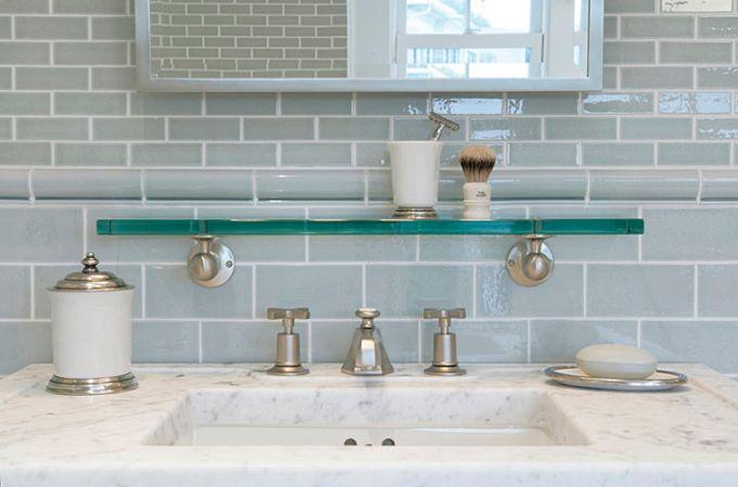 Cuartos De Baño Azul Turquesa:Blue Gray Glass Subway Tile Bathroom
