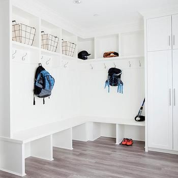 Family Mudroom Design with Built In Bench
