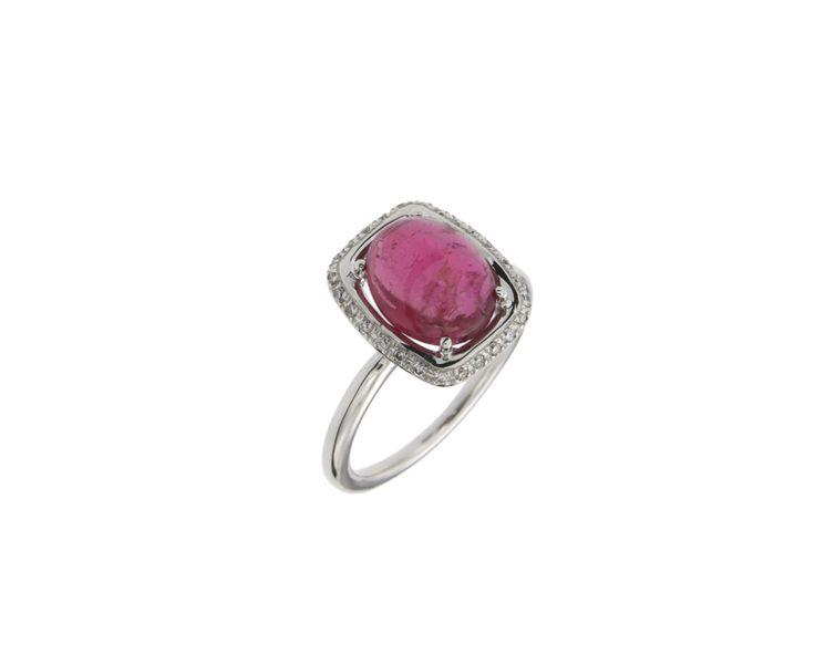 Δαχτυλίδι σε Λευκόχρυσο 18K Ροζέτα Ορθογώνια με Τουρμαλίνη Ροζ cab και διαμάντια 25199