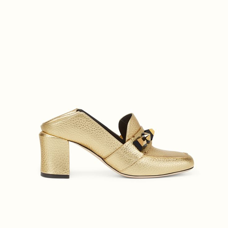 Gold-colored laminated leather loafers