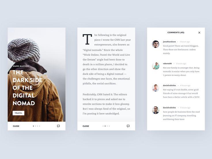 Mobile Blog App Interface