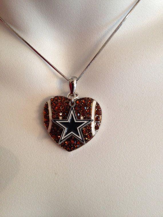 Dallas Cowboys football necklace on Etsy, $23.00