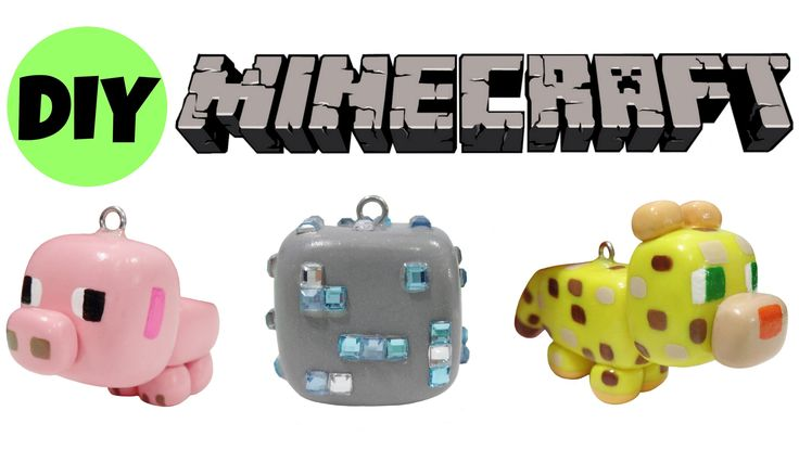 How to Minecraft Polymer Clay Charms | Diamond Ore + Baby Pig + Ocelot |