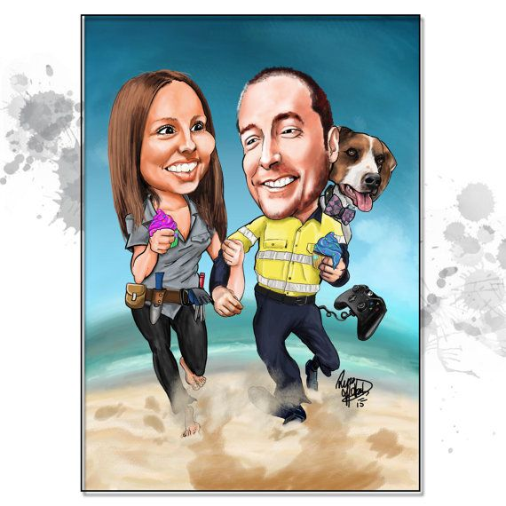These caricature gifts are lots of fun. Exaggerated to your liking- either Mild... or WILD! Get imaginative and make it as ridiculous as you like- check out a few of the samples in this gallery  All custom work is a one-of-a-kind illustration- just for you and created from scratch- You wont get any cookie-cutter caricatures, photo manipulation or images that looked like a computer app did all of the work.  Base Price includes: - 2 x Caricature sent electronically for you print to a size of…