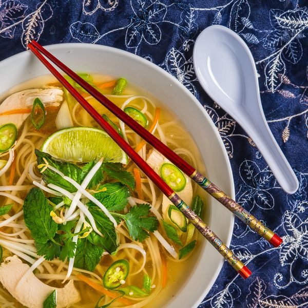 Pho Ga...a satisfying Vietnamese chicken soup with rice noodles and fresh herbs