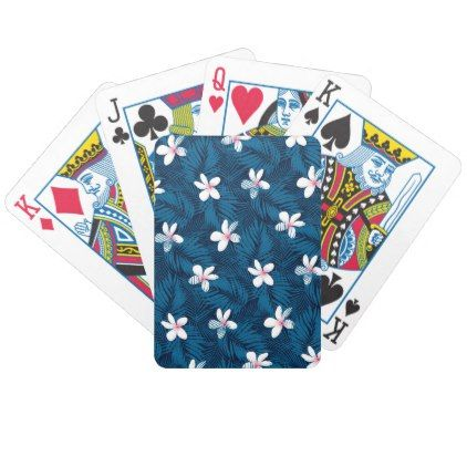 Navy palm leaves with frangipani bicycle playing cards - pattern sample design template diy cyo customize