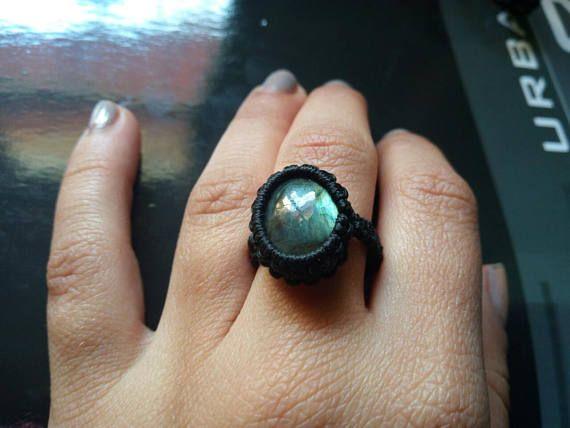 macrame labradorite ring
