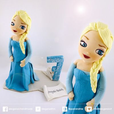 ...ele-ganza...:  birthday cake topper from elsa disnay movie #caketopper #compleanno #principessa #elsa #anna #elsaandanna #from #frozen #toppercake #topcake #sopratorta #birthdayparty #festacompleanno #cakedecoration #modelling #clay #fondant #cakefigurine #frozenbirthday #frozencake