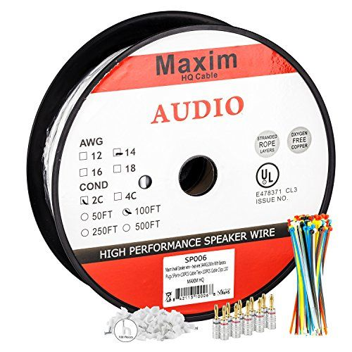 In Wall Speaker Wire | 100 Feet | 14AWG CL3 Rated 2-Conductor Wire White Oxygen Free Copper includes banana plugs cable clips and ties - http://www.amazon4all.net/in-wall-speaker-wire-100-feet-14awg-cl3-rated-2-conductor-wire-white-oxygen-free-copper-includes-banana-plugs-cable-clips-and-ties/