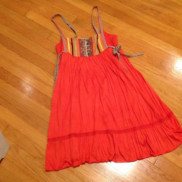 Free people orange decorated dress Super cute dress from free people with Aztec print detail on top, flowy and perfect for any occasion Free People Dresses