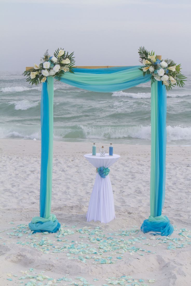 Barefoot Weddings 2 Post Bamboo Arbor Decorated With 3 Colors Of Chiffon Accented Fl Arrangements Florida Beachesflorida