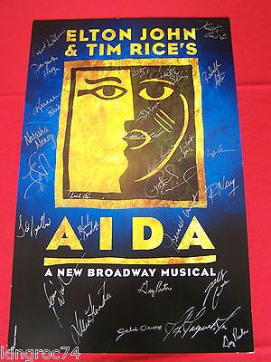 """CAST SIGNED """"AIDA""""""""The Musical"""" Theater Window Card- MINT condtion - 'THE, Aida, card, cast, condtion, Mint, Musical, Signed, THEATER, Window"""