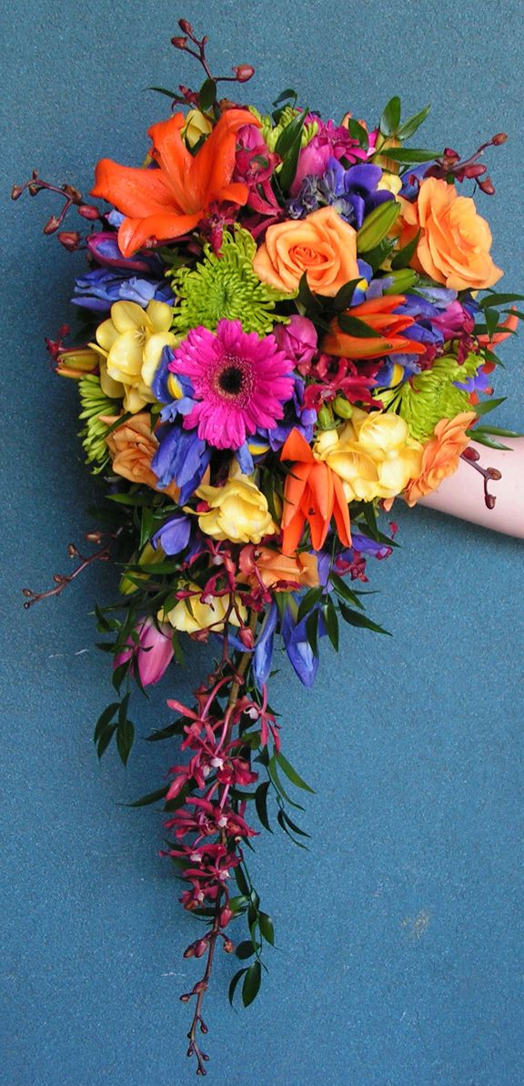 17 best ideas about cascading bouquets on pinterest for Bright wedding bouquet