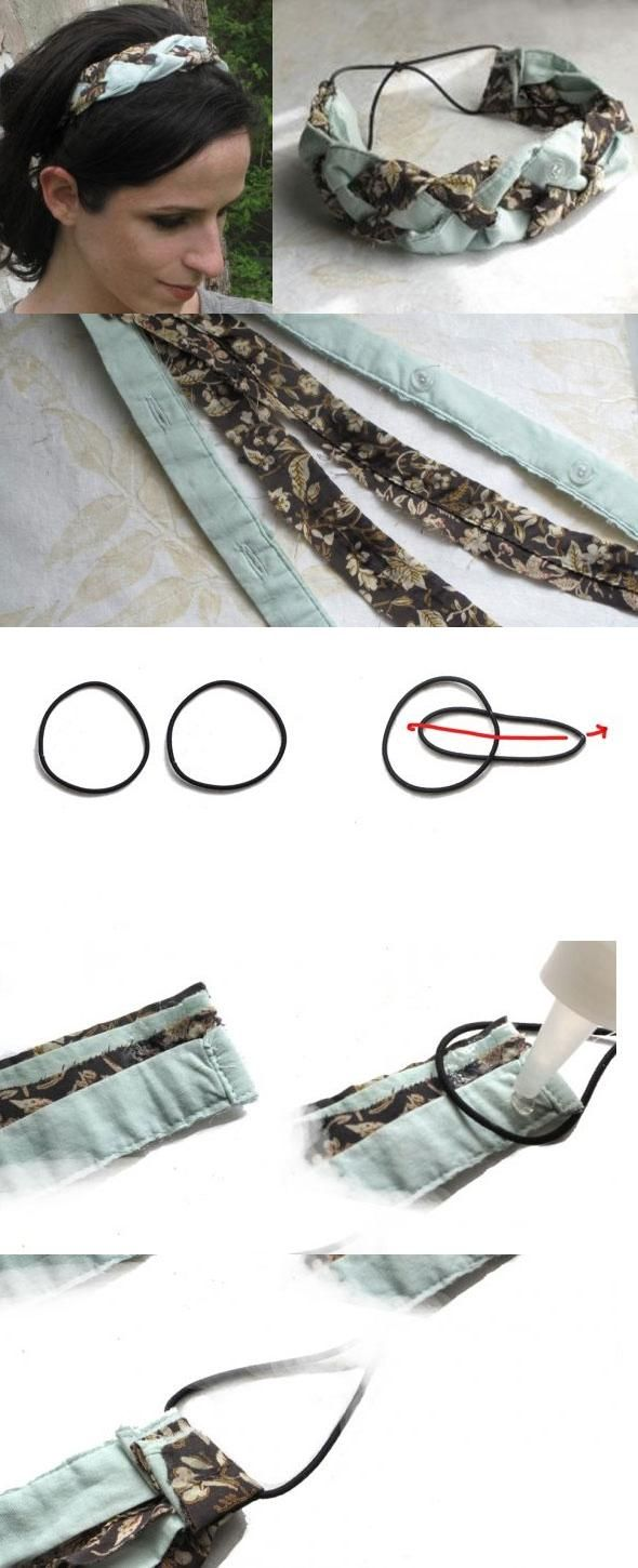 No-Sew Braided Fabric Headband from Old Clothes. Smart, smart, smart! Im going to be DIYing all night long!!!