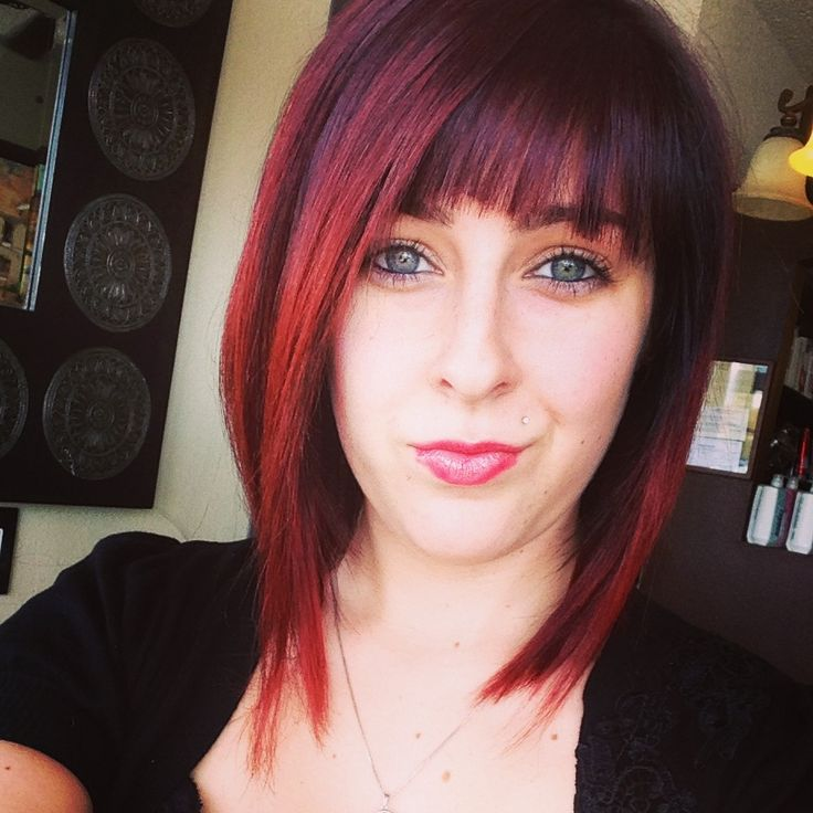 Short red brown ombre