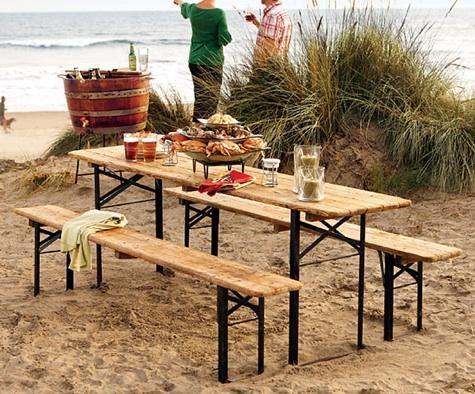 Wonderful Outdoors: European Biergarten Table And Bench Set