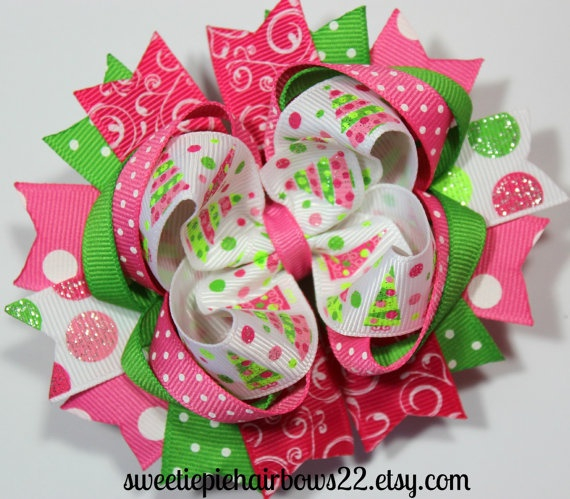 94 Best Hairbows Images On Pinterest Hairbows Crowns And Baby  - Christmas Tree Hair Bows