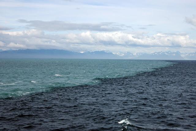 Esta maravillosa fotografía muestra la línea donde se encuentran el Mar del Golfo de Alaska y las aguas originadas por el deshielo de los glaciares de la costa.  La diferencia de salinidad y densidad del agua impide que se mezclen de una manera eficiente, permitiendo fotografías como esta.  El agua de azul oscuro es del mar (salada) y la de azul claro la de origen glaciar (dulce).