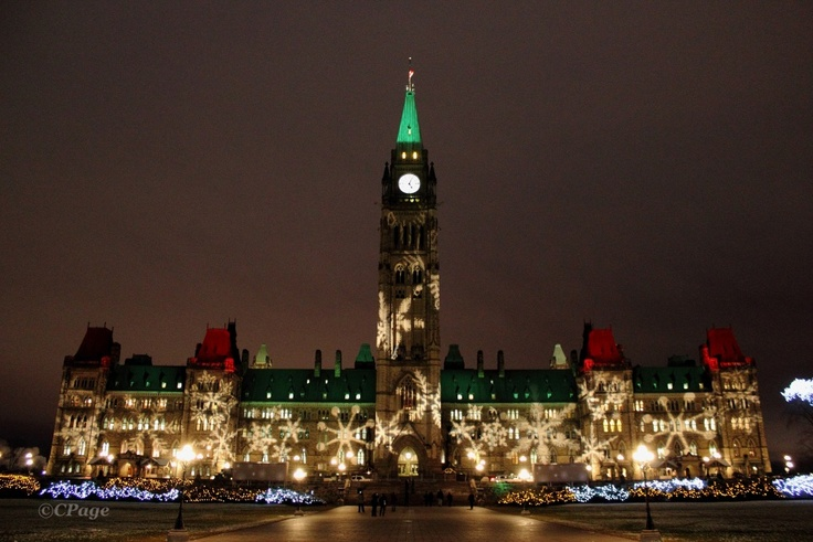 Bedecked Parliament - Christmas time in Ottawa, Ontario Canada